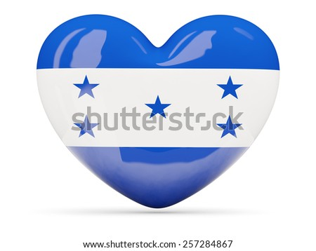 Heart shaped icon with flag of honduras isolated on white - stock photo