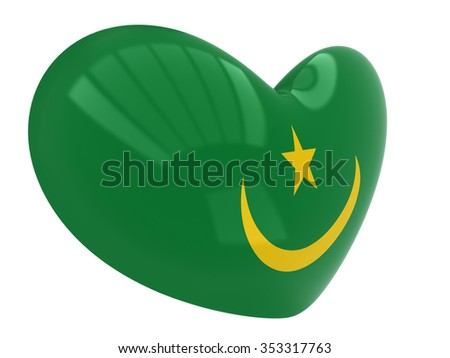 Heart shaped icon with flag of Mauritania - stock photo