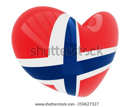 Heart shaped icon with flag of Norway - stock photo