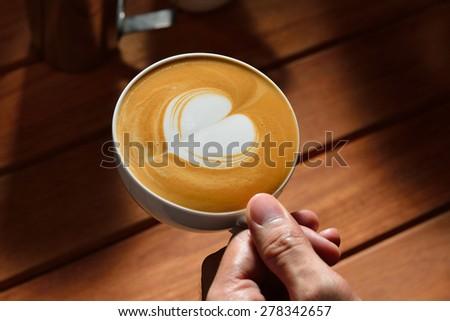 Heart- shaped latte art, heart shape - stock photo
