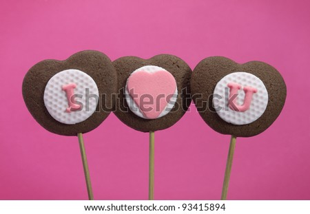 Heart shaped letter cookies for valentines day, I love you - stock photo