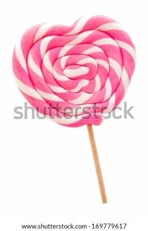 Heart shaped lollipop isolated on white         - stock photo