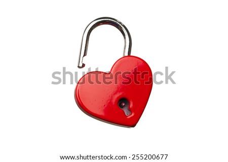 heart shaped opened lock, isolated on white - stock photo