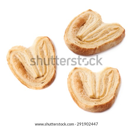 Heart shaped puff cookie pastry isolated over the white background - stock photo