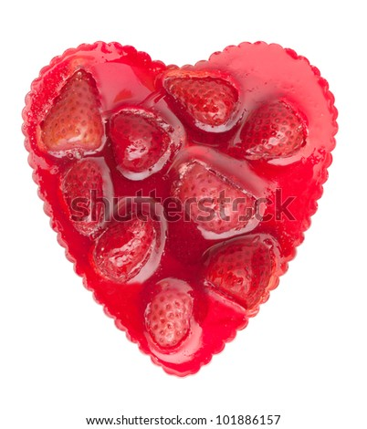 Heart Shaped Strawberry Cake Isolated on White Background - stock photo