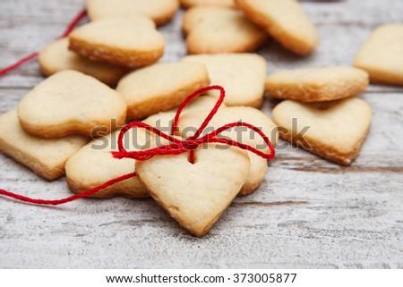 Heart shaped sugar cookies - stock photo