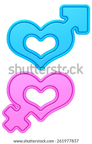 Heart shapes with male and female gender signs isolated on white. High resolution 3D image - stock photo