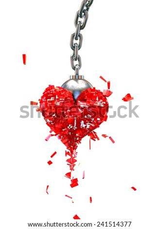 Heart Shattered by Wrecking Ball - stock photo