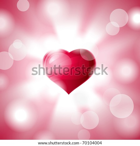 Heart shining with light of love. Abstract composition. - stock photo