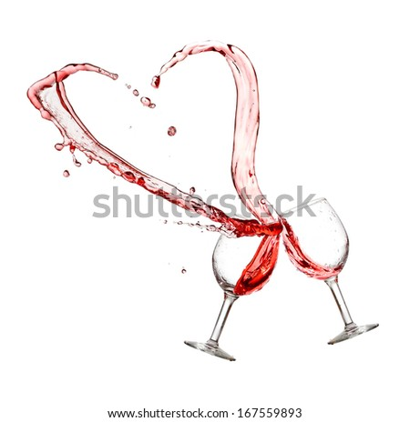 Heart splash from two glasses of red wine isolated on white background - stock photo