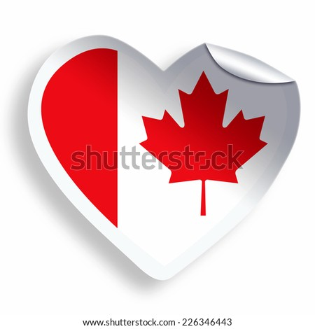 Heart sticker with flag of Canada  isolated on white - stock photo