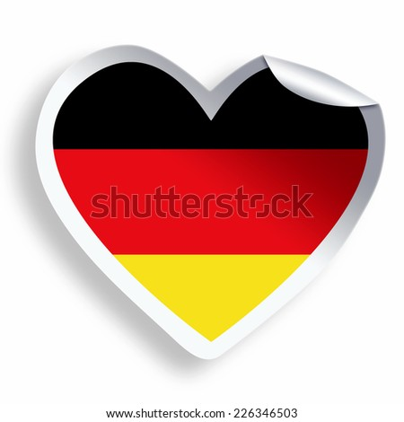 Heart sticker with flag of Germany  isolated on white - stock photo
