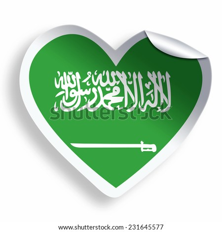 Heart sticker with flag of Saudi Arabia isolated on white - stock photo