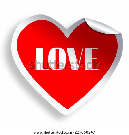 Heart sticker with Love text isolated on white - stock photo