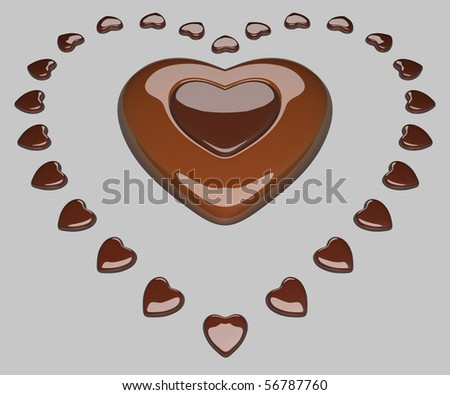 Heart surrounded by small hearts - stock photo