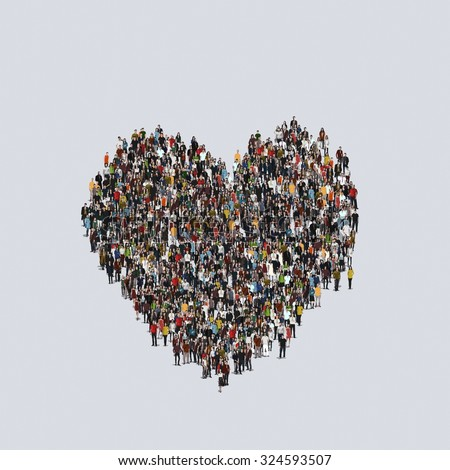 heart symbol Large group of people, crowd forming various shapes across surface on grayish constant background for posters and advertisement.  - stock photo
