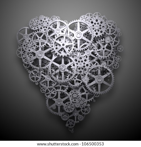 Heart symbol made out of cogs and gears - stock photo