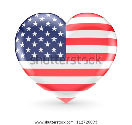 Heart symbol with american flag.Isolated on white background.3d rendered. - stock photo
