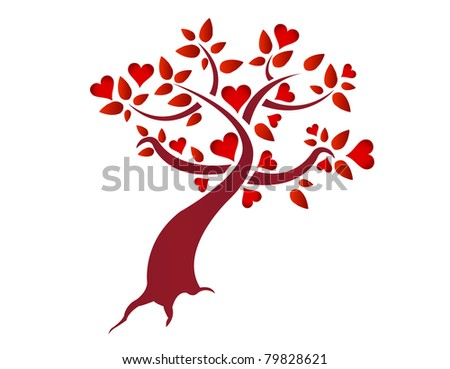 Heart tree illustration design isolated over a white background - stock photo