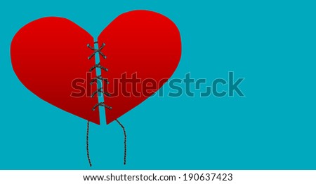 heart united from two parts - stock photo