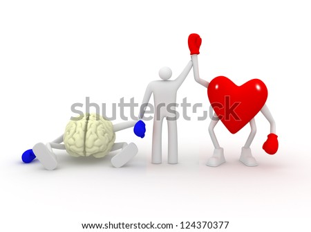 Heart win fight with mind. - stock photo
