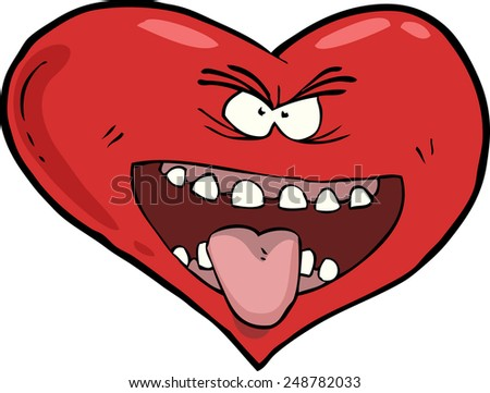 Heart with an open mouth raster version - stock photo