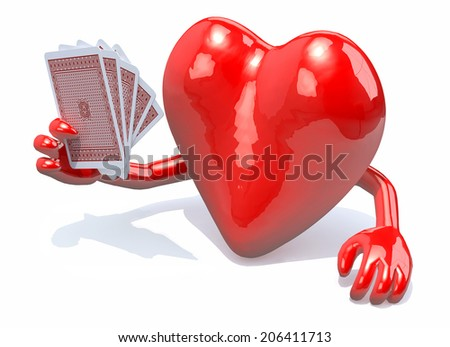 heart with arms and legs been playing poker, 3d illustration - stock photo