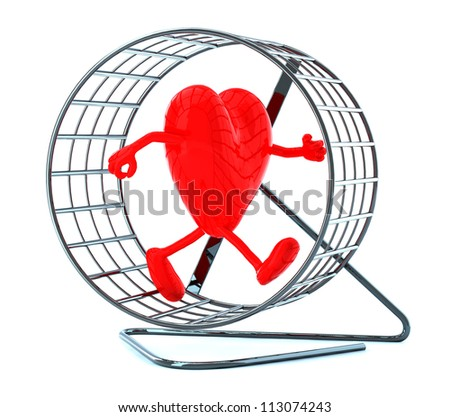 heart with arms and legs in hamster wheel, 3d illustration - stock photo