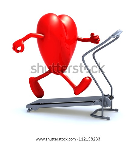 heart with arms and legs on a running machine, 3d illustration - stock photo