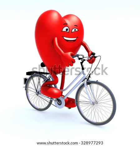 heart with arms and legs riding a bicycle, 3d illustration - stock photo