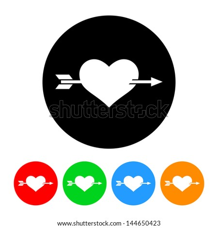 Heart with Arrow Icon with Color Variations.  Raster version, vector also available. - stock photo