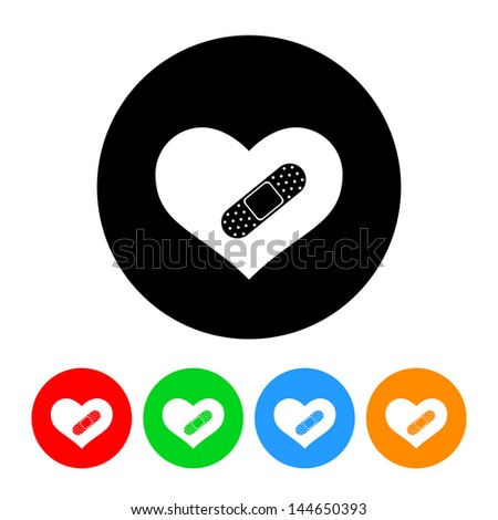 Heart with Bandage Icon with Color Variations.  Raster version, vector also available. - stock photo