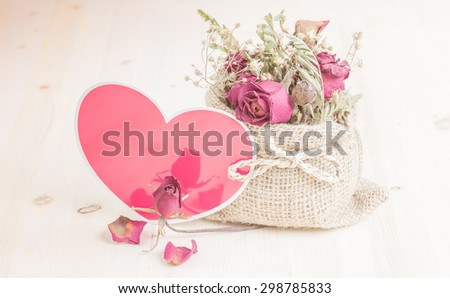 Heart with flower with vintage pattern - stock photo