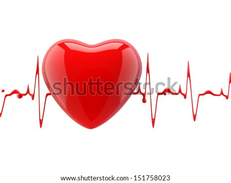 heart with heartbeat - stock photo