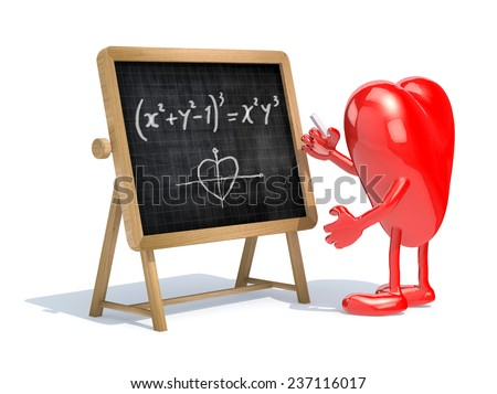 heart with his arms and legs in front of the blackboard writing a mathematical formula - stock photo