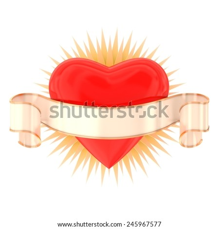 Heart with ribbon isolated on white - stock photo