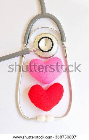 Heart with stethoscope, Heart healthy concept - stock photo