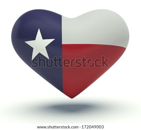 Heart with Texas flag colors (the Lone Star Flag). 3d render illustration. - stock photo