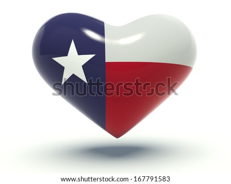 Heart with Texas flag (the Lone Star Flag) colors. 3d render illustration. - stock photo