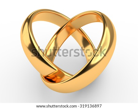 Heart with two connected gold wedding rings - stock photo