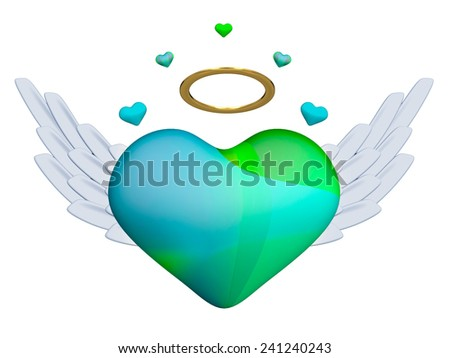 Heart with wings - stock photo