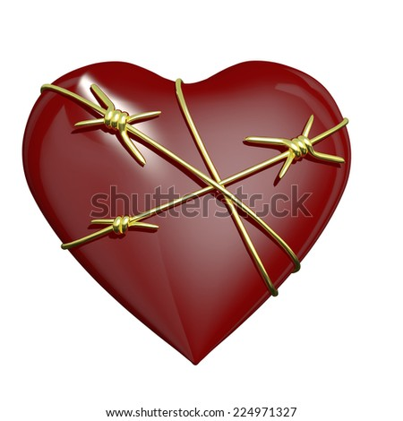 Heart Wrapped with Barbed Wire.  A valentine heart entwined by a barbed wire. Isolated on a white background. - stock photo
