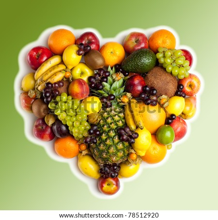 Hearth of fruits. Fresh fruits isolated on a white . Set of different fresh fruits - stock photo
