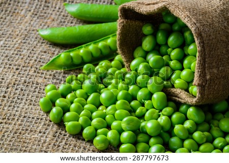 hearthy fresh green peas and pods on rustic fabric background - stock photo