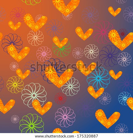 hearts and flowers seamless background - stock photo