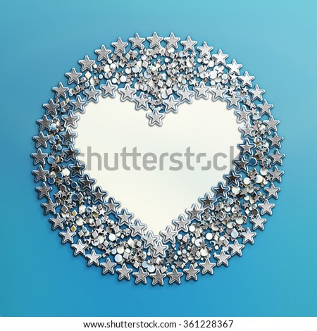 Hearts and Stars. Heart Metal 3d Frame for text or pictures in blue background.Great for baby announcement, Valentine's Day, Mother's Day,Easter, wedding, scrapbook, photo album cover. Template Design - stock photo