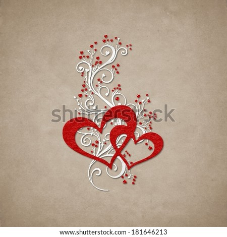 Hearts and swirls on paper background - stock photo