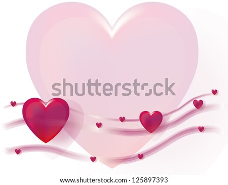 Hearts background with flowing lines and heart. - stock photo