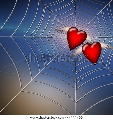 Hearts Caught in Web - stock photo