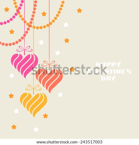 Hearts decoration. Valentine's day and wedding greeting card. Cute romantic illustration for print, web - stock photo